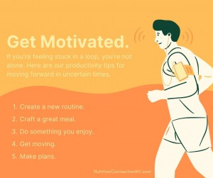 Text image with 5 Productivity Tips listed. Accompanied by illustration of man running.